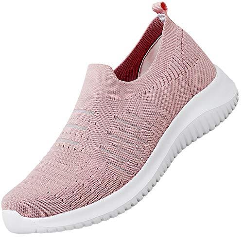 MAOGO Damen Sneaker Atmungsaktiv Laufschuhe Slip On Schuhe Freizeitschuhe Outdoor Sportschuhe (Rosa, Numeric_41)