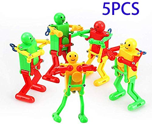 Colorful Spring Wind-up Dancer Dancing Walking Robot Toy for Baby Kid Children,Robot Buddies for Kids Role Playing, Robots Theme Party Activity(5 pcs)