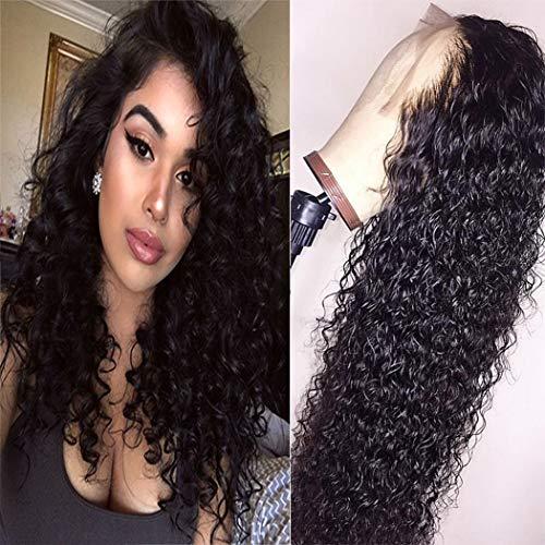 Bele 10A pré plumé Curly wave en dentelle frontale Perruques 150% Densité brésiliens vierges Ondulé Cheveux humains Lace Frontales Perruques avant avec des cheveux de bébé 16 pouces