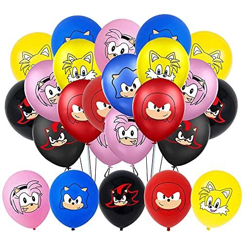 35 globos para Sonic The Hedgehog, decoración para fiestas infantiles, cumpleaños, decoración de Sonic The Hedgehog, globos de látex