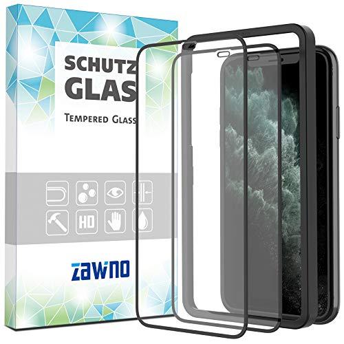 """[NEU] Full Screen 3D Schutzglas für iPhone 11 Pro & iPhone X/XS (5.8"""") [2 Stück] - perfekte Zentrierung dank Rahmen - Displayschutz 9H Panzerglasfolie - Schutzfolie auf Hartglas"""
