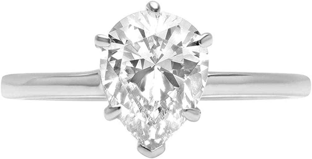 14k White Gold 1.97cttw Classic Pear Cut Solitaire Moissanite Engagement Promise Ideal VVS1 6-Prong Ring Statement Anniversary Bridal Wedding by Clara Pucci