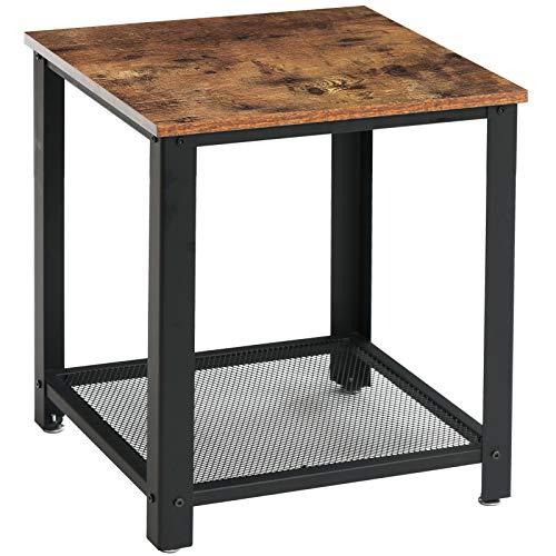 IBUYKE Beistelltisch 45 x 45 x 55 cm, Kaffeetisch im Industrie-Design, Nachttisch, Sofatisch mit Gitterablage, mit Metallgestell, Wohnzimmer, Schlafzimmer, einfach zu montieren TMJ008H