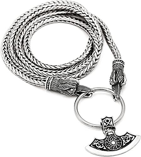 YFGlgy Norse Odin Mythology AX Necklace-Men Celtic Warrior Colgante Hacha Collar Viking Amuleto para Protección Mjolnir Pendant Warrior Odin Personal Thor Regalos Ravens,60cm