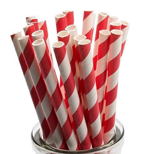 250 cannucce di carta rossa/bianca – 6 mm x 200 mm – biodegradabili compostabili ecologiche