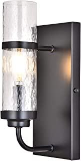 COTULIN Wall Sconce,Contemporary Black Metal Wall Lamp with Bubble Glass Shade,Wall Light for Living Room Bedroom Hallway