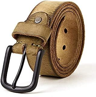 ZYDP Alloy Single Pin Buckle Unisex Leather Belt Cowhide Jeans Belt (Color : Olive, Size : 110-130cm)