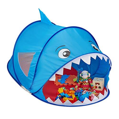 Relaxdays Spielzelt Hai, Pop Up Zelt Kinder, Jungen & Mädchen, Kinderzelt drinnen & draußen, 86 x 100 x 182 cm, blau/rot