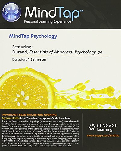 MindTap Psychology, 1 term (6 months) Printed Access Card for Durand/Barlow's Essentials of Abnormal Psychology, 7th