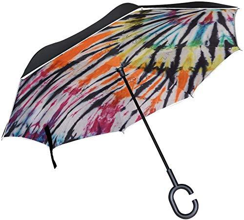 Paraguas de lluvia invertido con efecto teñido anudado, resistente al viento, con gancho y asa