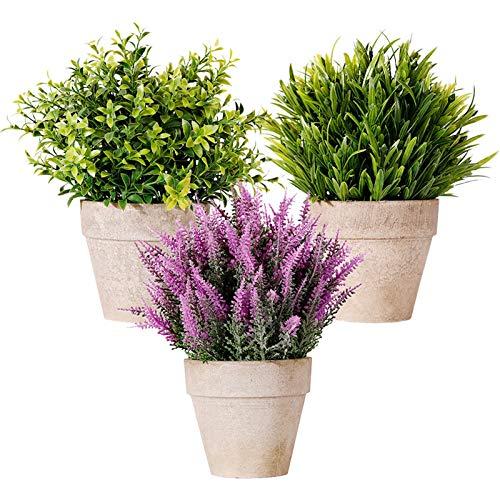 Planta artificial, plantas falsas de plástico mini planta de lavanda real con macetas de cemento, juego de 3 unidades de bonsái verde para el hogar, baño, cocina, oficina, escritorio, jardín, decor