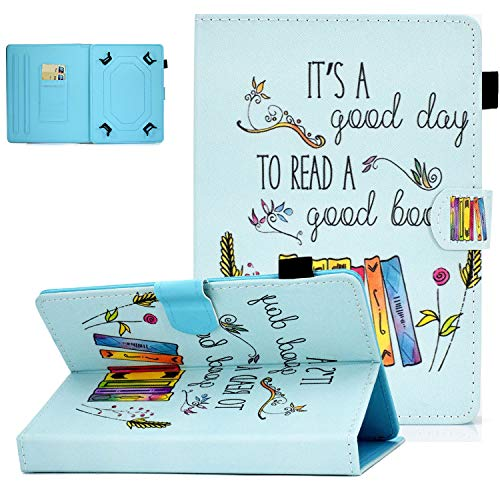 UGOcase Universal Case for 7.0 Inch Tablet, PU Leather Multi-Angle Stand Magnetic Cover with Card Slots for Galaxy Tab E 7.0/ Tab A 7.0/ Fire 7.0 2019 and More 6.5-7.5 inch Tablet - Books