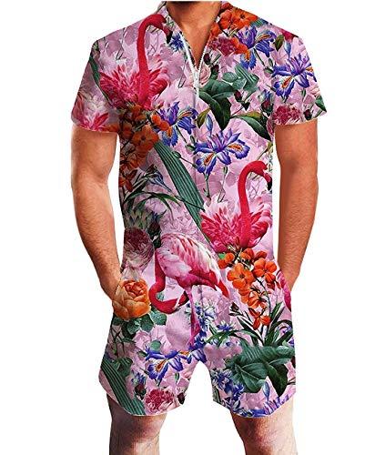 Fanient Jumpsuit Playsuit für Männer Frauen Zip Front Jumpsuit Romper Kurzarm Playsuit