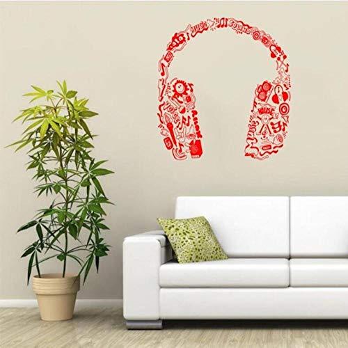 Pegatinas Etiqueta De Pared Auriculares De Música Roja Nota Musical Dormitorio Sala De Estar Estudio Tienda Vidrio Decoración Para El Hogar Arte De Vinilo 55×55cm