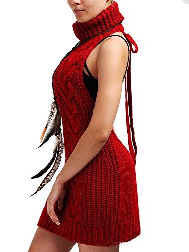 Cheerlife Damen Pullover Jumpsuit ärmellose Rückenfrei Turtleneck Strickpullover Backless Open Back Sweater Cosplay Pullover XL Weinrot