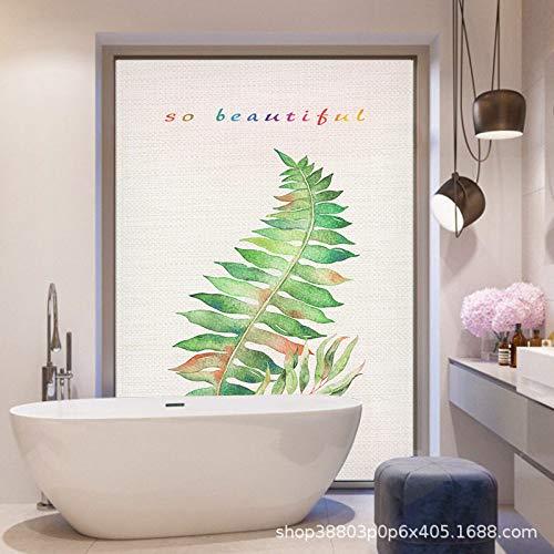 TFOOD raamfolie, raamfolie esthetisch citaat zo mooi groen blad privacy statische cling gematteerde stickers ondoorzichtig glasdecor zelfklevende UV-bescherming voor keuken badkamer woonkamer