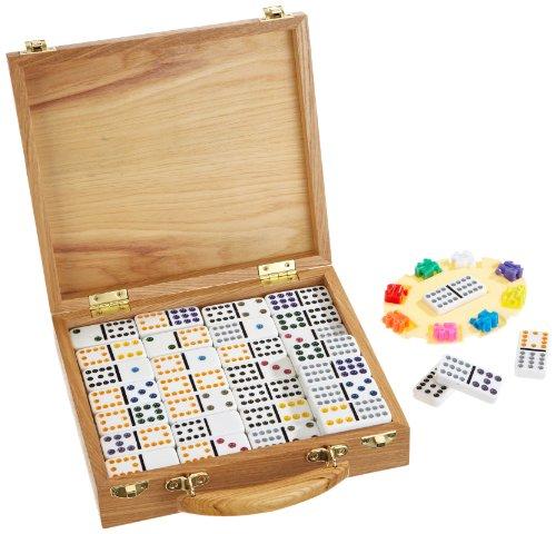 Weiblespiele 04395–Domino Mexican Train en caja de madera, 12 , color/modelo surtido