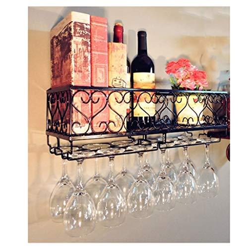 CHINESS Estante para Vinos, Estante Colgante para Copas De Vino, Estante para Botellas Artesanales De Metal, Puede Colgar 18 Tazas, para Cocina De Bar, 25X 10X 17Cm, Negro