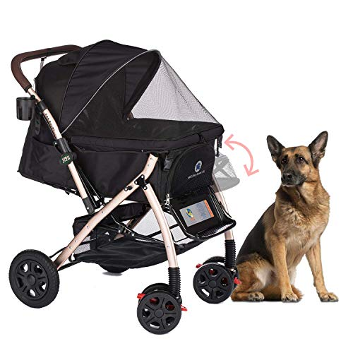 HPZ Pet Rover XL Extra-Long Premium Heavy Duty Dog/Cat/Pet Stroller Travel Carriage with Convertible...