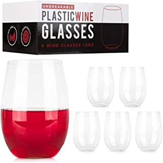 ConnectedPlus 16 oz Stemless Plastic Wine Glasses: Set of 6 Glasses - Unbreakable Party Glass Wine Tumblers - Shatterproof, Reusable Stemless Wine Cups Perfect for Outdoor Picnics or Pool Parties
