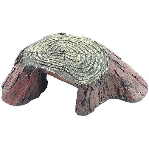 YAOHEHUA Guaridas Piedras hábitats Reptiles y Anfibios Acuario paisajismo decoración de peceras simulación Tortuga Tortuga Espalda árbol Cabeza Madera Grano Tortuga Plataforma Escalada Plataforma