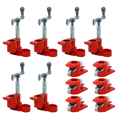 """(6 Pack) 3/4"""" Wood Gluing Pipe Clamp Set Red Cast Iron Clamps Heavy Duty Quick Release Pipe Clamps for Woodworking"""
