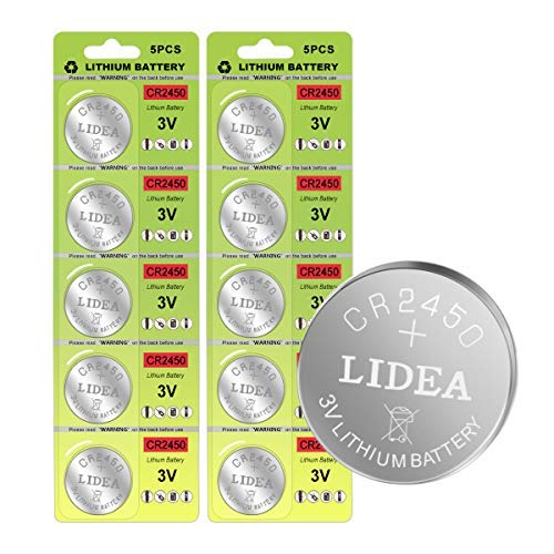 CR2450 Battery 3v Lithium Coin Cell Batteries - High Capacity 700mAh Button Cell Battery 3 Volt CR2450 Batteries for Flameless Tea Light Candles, Remote, Window Sensor 10 Pack