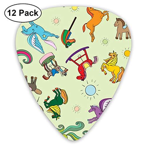 Gitaar Pick Zon Kleur Rijk Speelgoed Paard Patroon 12 Stuk Gitaar Paddle Set Gemaakt Van Milieubescherming ABS Materiaal, Geschikt voor Gitaren, Quads, Etc