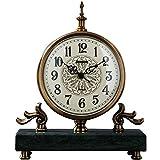 Tischuhren Mute Wohnzimmer Kaminuhr, Haushalt Metall Marmor Tischuhr, Studie Arabische Ziffer Uhr, Heimtextilien (Color : Green, Size : 23 * 10 * 27cm)