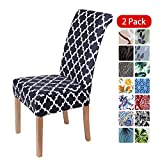 smiry Stretch Printed Dining Chair Covers, Spandex Removable Washable Dining Chair Protector Slipcovers for Home, Kitchen, Party, Restaurant - Set of 2, Black Geometric