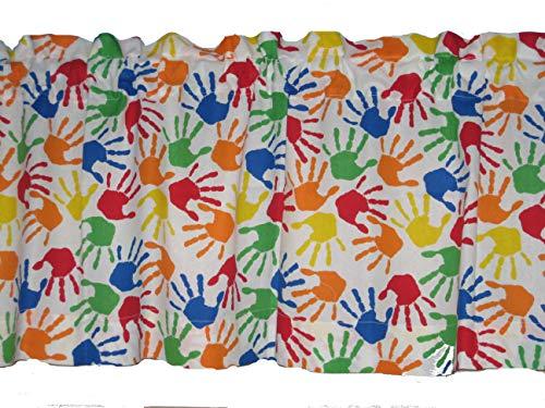 handmade Colorful Handprints 100% Cotton Back to School Window Curtain Valance
