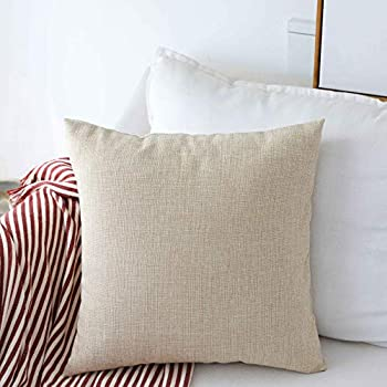 Home Brilliant Linen Throw Pillow Cover Burlap Square Cushion Cover Pillow Sham for Couch Living Room Light Linen 18x18 Inches 45cm