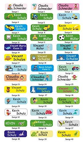 INDIGOS UG Namensaufkleber Kinder schwarz - Sticker - 5 x 1,5cm - 60 Stück für Kinder, Schule, Kindergarten, KITA, Verein, zum markieren - Aufkleber viele bunte Motive