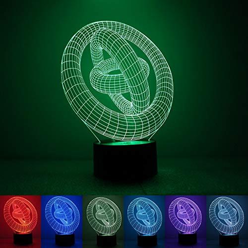 Hoofdverlichting stereo 3 ring regenboog kleur 3D nachtlampje USB-stroomvoorziening milieuvriendelijke LED-sfeerverlichting