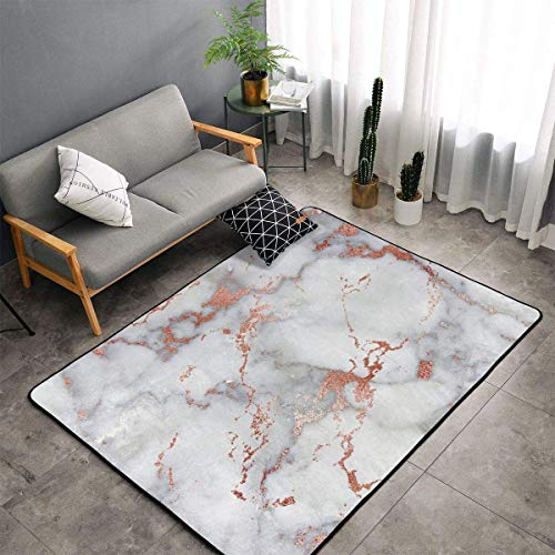 Memory Foam Area Rug for Hotel Children Bedroom Dorm Room, Non Skid Backing Floor Pad Rugs Luxurious Throw Rugs Runner, Machine Washable, Rose Gold Marble White
