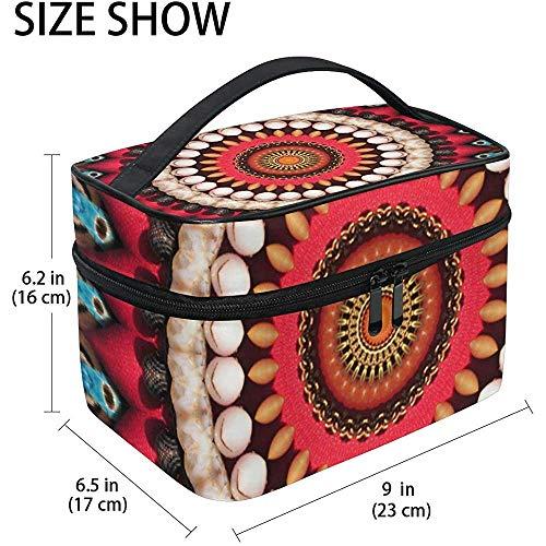 Ornement circulaire rouge grand cosmétique sac maquillage maquillage organisateur titulaire cas pour les femmes filles trousse de toilette, 23X17X16Cm