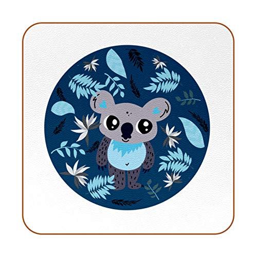 Juego de 6 posavasos cuadrados de piel para bebidas, diseño de koala, color azul, para café, cerveza, té, vino, hogar, oficina, cocina, bar, protección de muebles, regalos de inauguración de la casa