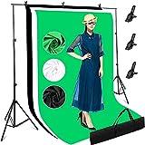 Sistema de Soporte de Fondo, 3mx2m Kit Estudio Fotográfico Ajustable, 3 Telón de Fondo (Verde/Negro/Blanco), Equipo de Fotografía con Trípode Estable, 3 Abrazaderas et Bolsa para Fotos y Video