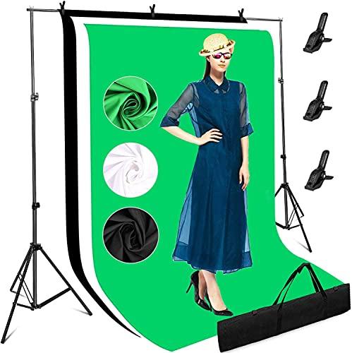 Profi Fotostudio Hintergrund Unterstützende Ständer Set, 3mx2m Verstellbarem Fotografie Hintergründe mit 3 Bildschirmen Weiß Schwarz Grün, Stabilem...
