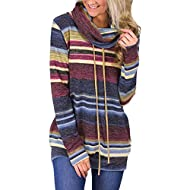 🎄65% Cotton+35% Polyester for plain shirt.Elastic knitted material 🎄Long drawstring with cowl neck make this shirts good for casual,daily shopping street home or work 🎄Unique Color Stripe will be different for each pcs,which make you outstand from cr...