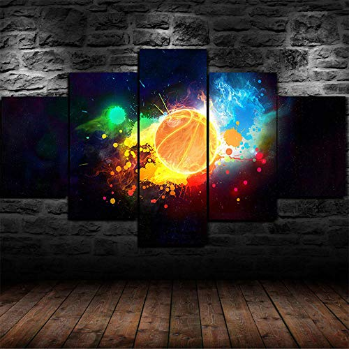 HJYT 5 Piezas De Arte Cuadros Decoracion Salon,Colores Coloridos del Baloncesto Moderno HD sobre Lienzos ImpresióN Cuadro Usado para Sala Oficina Hogar Decoracion De Pared Marco/150x80CM