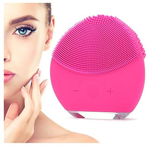 o-day® Spazzola Pulizia Viso Silicone Elettrica Massaggiatore Viso Skin Care Cura Del Viso Prodotti Bellezza Donna Pulitore Viso Cura Della Pelle Trattamento Viso Antirughe (Fucsia)