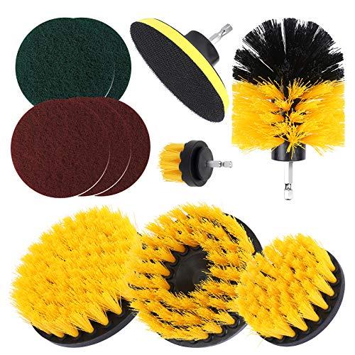 UCEC 11 Stück Bürstenaufsatz Bohrmaschine Set, 2\'\'/ 3.5\'\'/ 4\'\'/ 5\'\' Drill Brush Bohrer Bürsten für Akkuschrauber, Reinigungsbürsten für Fliesen Kacheln Badewanne Felgenreinigung Gelb