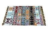 iinfinize - Alfombra 100% de lana tejida a mano con forma de rectángulo Kilim, alfombra de suelo, alfombra de suelo reversible Dhurrie, esterilla de yoga decorativa