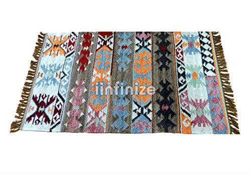 iinfinize – 5,1 x 0,9 m 100% Wolle, handgewebter Bodenteppich, rechteckige Form, Kilim-Teppich, Bodenläufer, Bodenmatte, Wendematte, Yogamatte, Küche, Dekorativer Überwurf