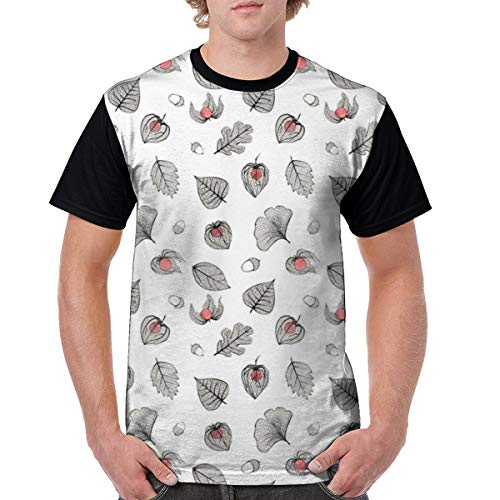 Men Classic Polyester Short Sleeve T-Shirts Front Print Tee Physalis and Skeleton Leaves