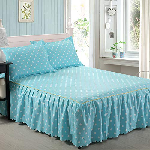 huyiming Verwendet fürBett Rock Bett Rock Einzelstück Heimtextilien Bettwäsche Paket Bettwäsche Welle Punkt blau Bett Rock 120x200cm