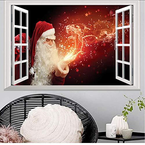 Hwhz Babbo Natale Cervo 3D Finestra Finta Natale Pvc Wall Sticker Capodanno Decorazione Soggiorno Camera Da Letto Camera Da Letto Carta Da ParatiA