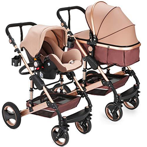 """Kinderwagen """"Florida"""", 3 in 1 Kombikinderwagen Megaset 8 teilig inkl. Babyschale, Babywanne, Sportwagen und Zubehör, zertifiziert nach der Sicherheitsnorm EN1888, Beige"""