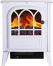 Calefactor Estufa a leña eléctrica con madera realista 3D efecto de llama de fuego y 2 ajustes de calor - calentador independiente portátil 2000W fuego realista con efecto carbón whiteelectric fuego,